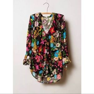 Anthro 11.1. TYLHO Floral Ruffle Blouse